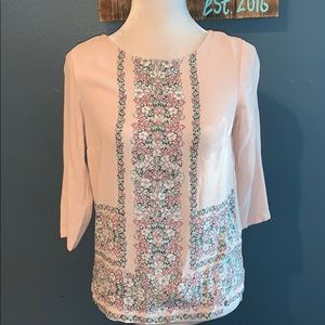 3/$15 Lauren Conrad | 3/4 Sleeve Blush Floral Top